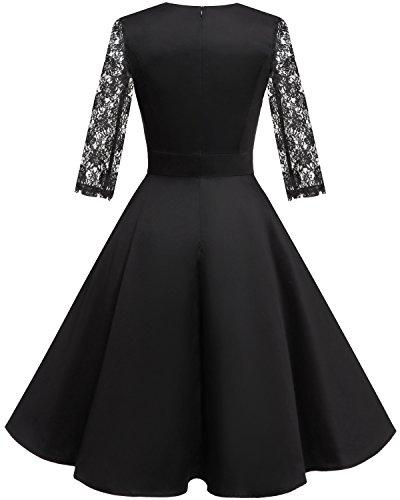 ᐅ Homrain Damen 50er Vintage Retro Kleid Party Langarm Rockabilly Cocktail Abendkleider Black 1 Xs