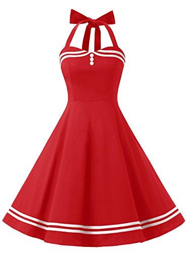 Timormode Rockabilly Kleider Neckholder 50s Vintage Kleid Retro Knielang Kleider Damenkleider Festlich Cocktailkleider 10387 Rot XS