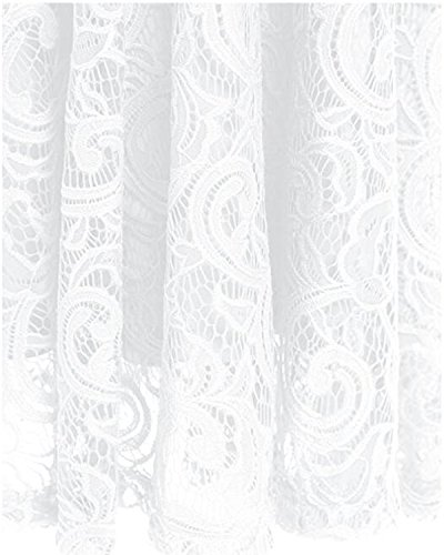 Kidsform Damen Spitzen Kleider Ärmellos V-Ausschnitt Partykleid 50er Jahre Abendkleider Cocktailkleid Elegant für Hochzeit Ballkleid Weiß EU 38-40/Etikettgröße M - 4