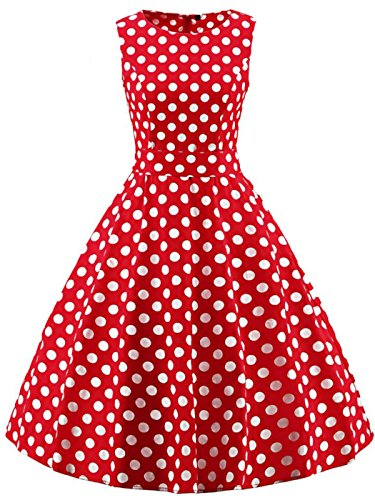 26a9e8f4db4a02 FAIRY COUPLE 50s Retro Blumen Cocktail Schwingen Party Kleid mit Bogen  DRT017(2XL,Rote
