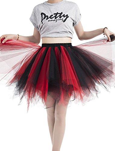 Caissen Damen Vintage Elastisch Puffy Tüll Tütü Röcke Petticoat Ballett Blase Ballkleid Mehrfarbengroß Unterröcke Hellblau - 2