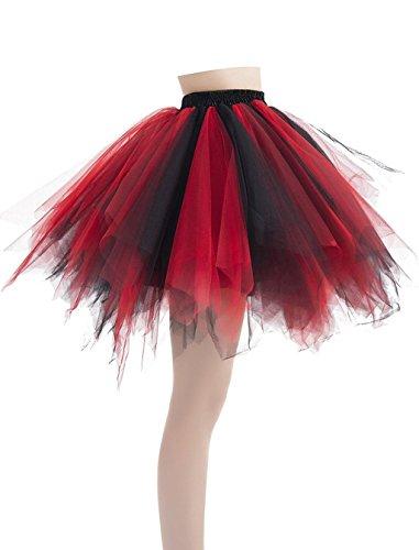 Caissen Damen Vintage Elastisch Puffy Tüll Tütü Röcke Petticoat Ballett Blase Ballkleid Mehrfarbengroß Unterröcke Hellblau - 3