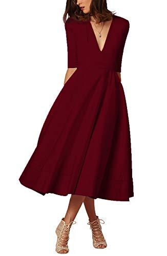 Damen sexy v-Ausschnitt Partykleid Abendkleider Cocktailkleid Elegant 1/2 arm Casual klassischer Stil Kleid lang,S-3XL, L, Weinrot