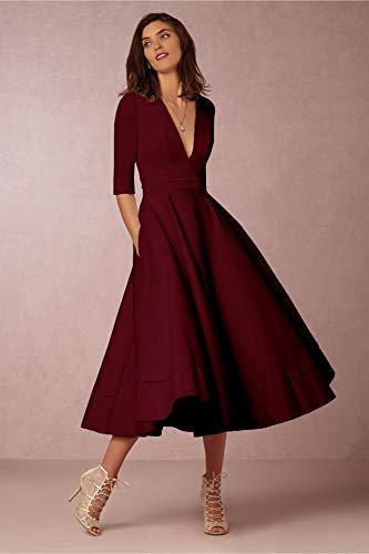 Damen sexy v-Ausschnitt Partykleid Abendkleider Cocktailkleid Elegant 1/2 arm Casual klassischer Stil Kleid lang,S-3XL, L, Weinrot - 2