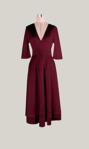 Damen sexy v-Ausschnitt Partykleid Abendkleider Cocktailkleid Elegant 1/2 arm Casual klassischer Stil Kleid lang,S-3XL, L, Weinrot - 3