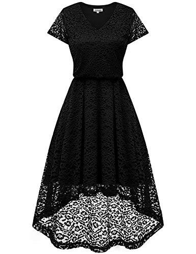 bbonlinedress Damen Elegant V Ausschnitt aus Spitzen Kurzarm Festlich Hochzeit Cocktail Party Abendkleider Black M