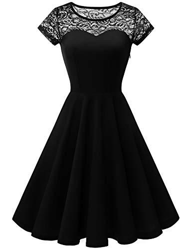 YOYAKER Damen Elagant Vintage Mit Spitzen Rundhals Kurzarm Cocktail Rockabilly Abendkleid Black XS