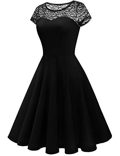 YOYAKER Damen Elagant Vintage Mit Spitzen Rundhals Kurzarm Cocktail Rockabilly Abendkleid Black XS - 3