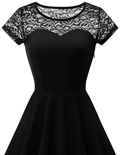 YOYAKER Damen Elagant Vintage Mit Spitzen Rundhals Kurzarm Cocktail Rockabilly Abendkleid Black XS - 4