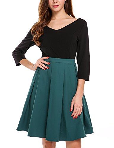 Zeagoo Damen Vintage 50er Jahre Kleid Rockabilly Cocktail Abendkleid Festliches Kleid 3/4 Ärmel V Ausschnitt A Linie Dunkelgrün XXL - 2