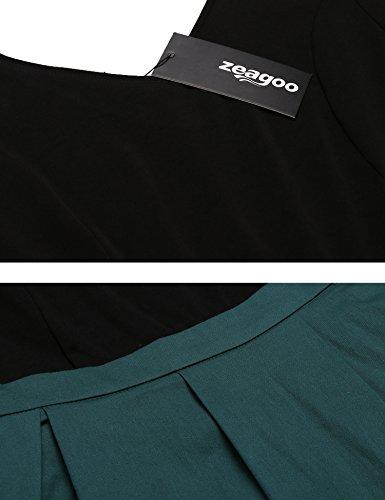 Zeagoo Damen Vintage 50er Jahre Kleid Rockabilly Cocktail Abendkleid Festliches Kleid 3/4 Ärmel V Ausschnitt A Linie Dunkelgrün XXL - 6
