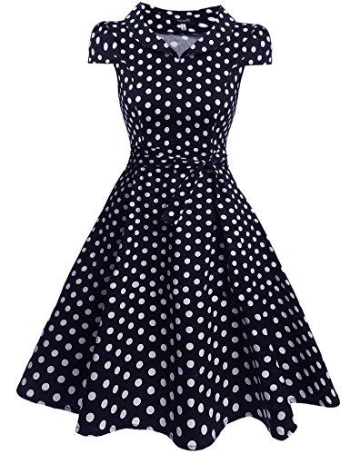 Zeagoo Damen Vintage 50er Jahre Kleid Swing Rockabilly Cocktailkleider Partykleider Sommerkleider Kurzarm mit Gürtel Blau Weiß M