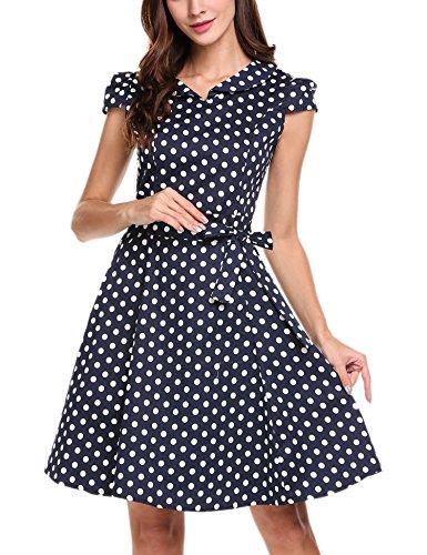 Zeagoo Damen Vintage 50er Jahre Kleid Swing Rockabilly Cocktailkleider Partykleider Sommerkleider Kurzarm mit Gürtel Blau Weiß M - 2