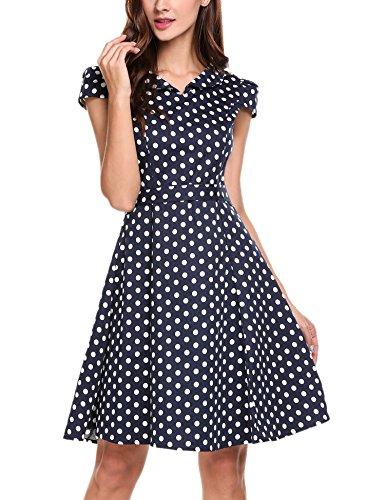 Zeagoo Damen Vintage 50er Jahre Kleid Swing Rockabilly Cocktailkleider Partykleider Sommerkleider Kurzarm mit Gürtel Blau Weiß M - 4