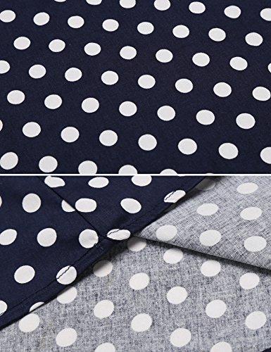 Zeagoo Damen Vintage 50er Jahre Kleid Swing Rockabilly Cocktailkleider Partykleider Sommerkleider Kurzarm mit Gürtel Blau Weiß M - 6