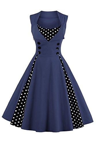 MisShow Damen Kleider 50er Jahre Stil Vintage Polka Dots Knielang Navyblau 4XL