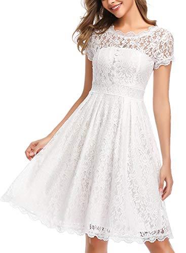 ihot Damen Kleid Brautjungfernkleid Knielang Spitzenkleid Flügelärmeln Cocktailkleid- Gr. XL, Weiß