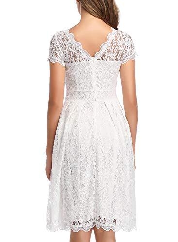 ihot Damen Kleid Brautjungfernkleid Knielang Spitzenkleid Flügelärmeln Cocktailkleid- Gr. XL, Weiß - 2