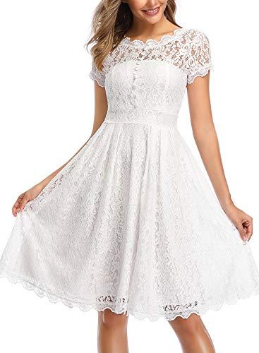 ihot Damen Kleid Brautjungfernkleid Knielang Spitzenkleid Flügelärmeln Cocktailkleid- Gr. XL, Weiß - 3