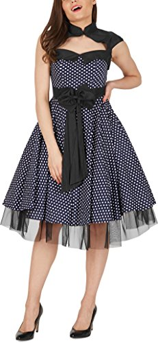 BlackButterfly 'Athena' Polka-Dots Kleid mit großer Schleife (Nachtblau, EUR 50-4XL) - 2