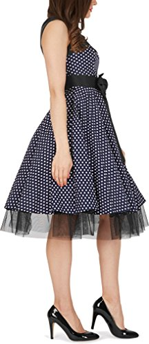 BlackButterfly 'Athena' Polka-Dots Kleid mit großer Schleife (Nachtblau, EUR 50-4XL) - 3