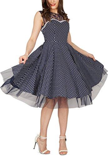 BlackButterfly 'Vivien' Vintage Polka-Dots Kleid im 50er-Jahre-Stil (Nachtblau, EUR 42 - L) - 4