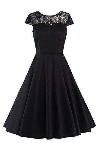 MisShow 2017 Damen Vintage Abendkleid Faltenkleid Transparenter Spitzen Hinten Frei V-Ausschnitt Ärmellos Knielang Retro Schwarz Gr.2XL