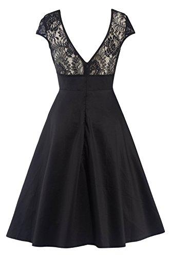 MisShow 2017 Damen Vintage Abendkleid Faltenkleid Transparenter Spitzen Hinten Frei V-Ausschnitt Ärmellos Knielang Retro Schwarz Gr.2XL - 2