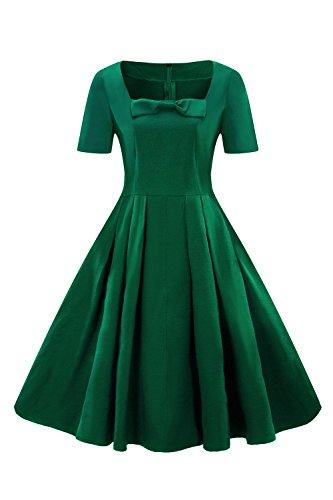 MisShow Damen Elegant 1950er Retro Vintagekleid Einfarbig Cocktailkleid Festlich Kleider Sommerkleid Knielang Grün Gr.S