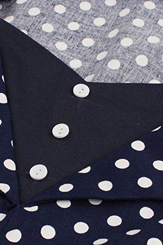 Damen kleider 50er jahre stil Vintage Polka Dots Knielang Navyblau 4XL - 4