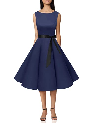 bbonlinedress 50s Retro Schwingen Vintage Rockabilly Kleid Faltenrock Navy