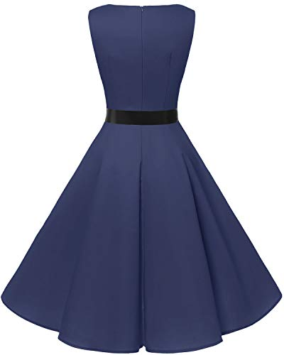 bbonlinedress 50s Retro Schwingen Vintage Rockabilly Kleid Faltenrock Navy - 5