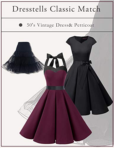 Dresstells Damen 50er Vintage Retro Cap Sleeves Rockabilly Kleider Hepburn Stil Cocktailkleider DarkGreen 2XL - 2