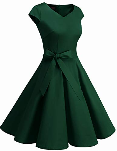 Dresstells Damen 50er Vintage Retro Cap Sleeves Rockabilly Kleider Hepburn Stil Cocktailkleider DarkGreen 2XL - 5
