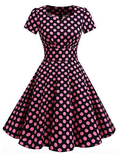 Dresstells Damen Vintage 50er Rockabilly Kurzarm Swing Kleider Partykleid Black Big Pink Dot S