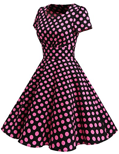 Dresstells Damen Vintage 50er Rockabilly Kurzarm Swing Kleider Partykleid Black Big Pink Dot S - 2