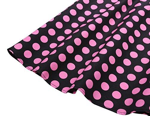Dresstells Damen Vintage 50er Rockabilly Kurzarm Swing Kleider Partykleid Black Big Pink Dot S - 7
