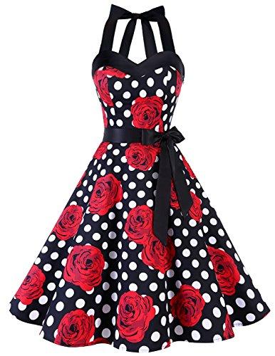 Dresstells Neckholder Rockabilly 1950er Polka Dots Punkte Vintage Retro Cocktailkleid Petticoat Faltenrock Black Red Rose Dot M - 4