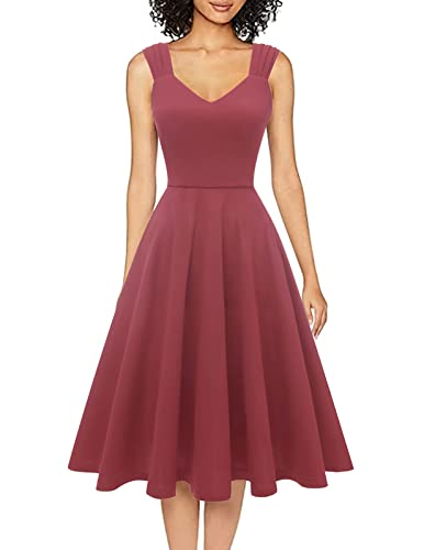 Dresstells Damen 1950er Midi Rockabilly Kleid Vintage V-Ausschnitt Cocktailkleid Faltenrock Raspberry XL
