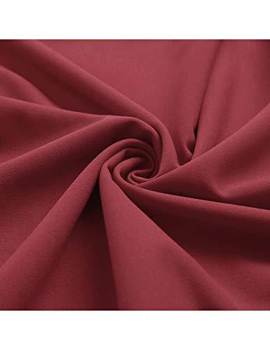 Dresstells Damen 1950er Midi Rockabilly Kleid Vintage V-Ausschnitt Cocktailkleid Faltenrock Raspberry XL - 7