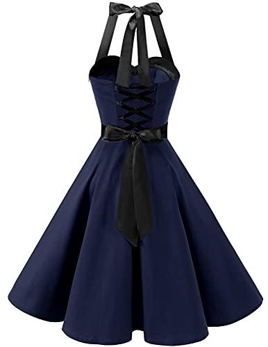 Dresstells Damen Neckholder 1950er Vintage Retro Rockabilly Kleider Petticoat Faltenrock Cocktail Festliche Kleider Navy Black M - 3
