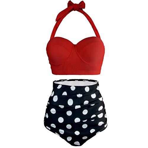 9995ee90883905 UPhitnis Damen Bikini Set Bademode Retro Stil Blumen Falten Badeanzug, Rot,  Gr.-