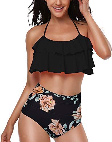 Damen Bikini Set Retro Volant Hohe Taille Bademode Badeanzug Neckholder Zweiteilige Strandkleidung für Frauen Schwarz S