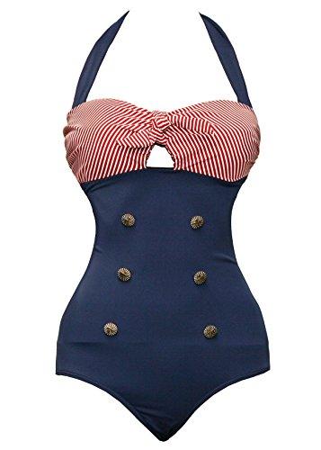 Bslingerie® Sexy Damen Retro Bademode Übergröße Halfter einteiliger Badeanzüge Monokini (S, Rot-Blau)