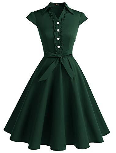 WedTrend Damen 50er Vintage Retro Rockabilly Swing Kleid Kurzer Ärmel Cocktailkleider WTP10007ForestGreenM