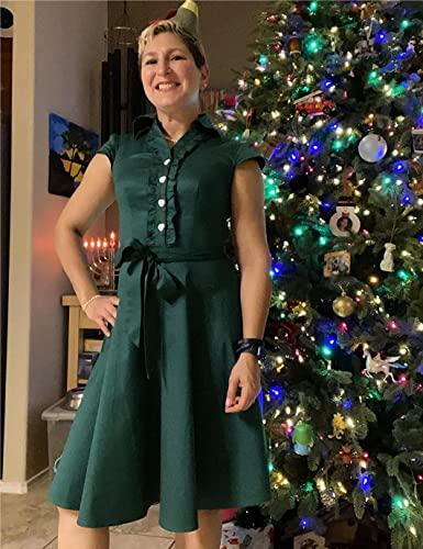 WedTrend Damen 50er Vintage Retro Rockabilly Swing Kleid Kurzer Ärmel Cocktailkleider WTP10007ForestGreenM - 2