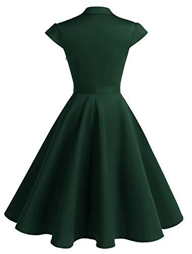 WedTrend Damen 50er Vintage Retro Rockabilly Swing Kleid Kurzer Ärmel Cocktailkleider WTP10007ForestGreenM - 3