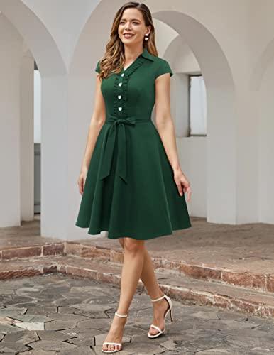 WedTrend Damen 50er Vintage Retro Rockabilly Swing Kleid Kurzer Ärmel Cocktailkleider WTP10007ForestGreenM - 5