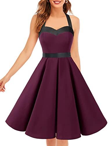 DRESSTELLS Damen Neckholder 1950er Vintage Retro Rockabilly Kleider Petticoat Faltenrock Cocktail Festliche Kleider Burgundy Black S