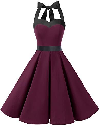 DRESSTELLS Damen Neckholder 1950er Vintage Retro Rockabilly Kleider Petticoat Faltenrock Cocktail Festliche Kleider Burgundy Black S - 2